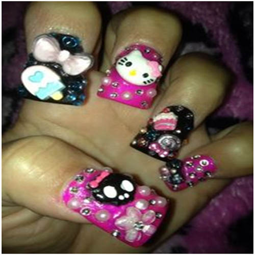 3D Nail art using Hello kitty and ice cream stick decos