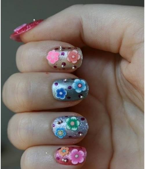 3D nail art using metal or plastic beads and famous