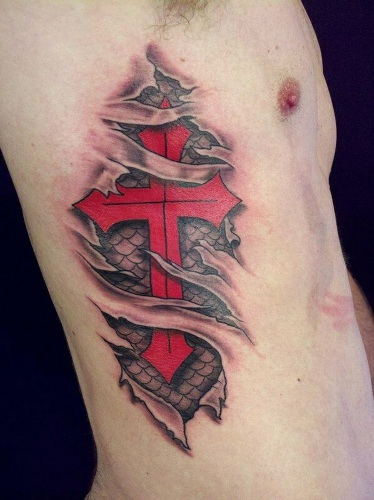 3d cross tattoo