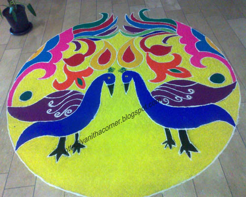 colorful peacock rangoli