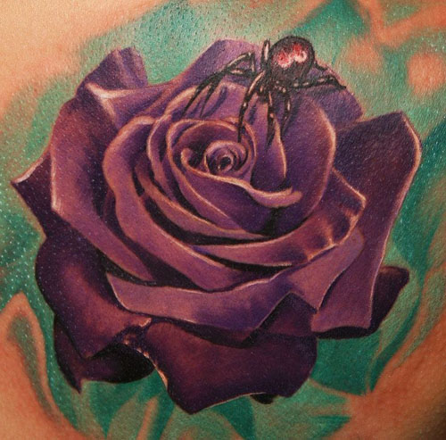 A beautiful spider upon a rose design