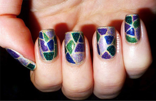 A free hand glitter and shimmer design