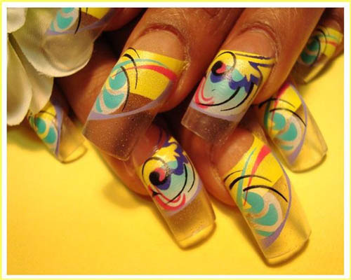 Abstract Nail art using airbrush technique