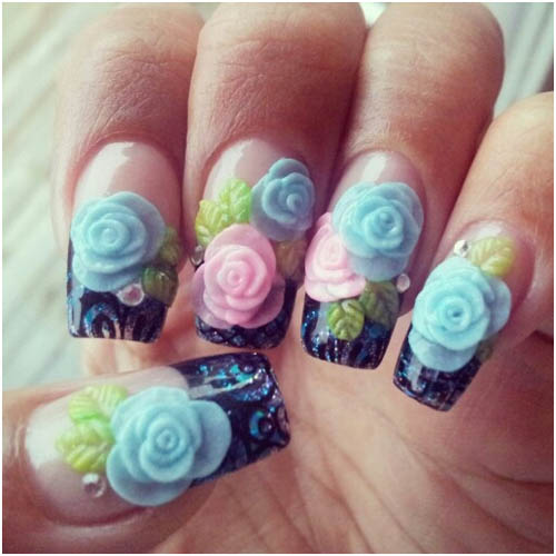 Acrylic 3D Nail art roses and leaves