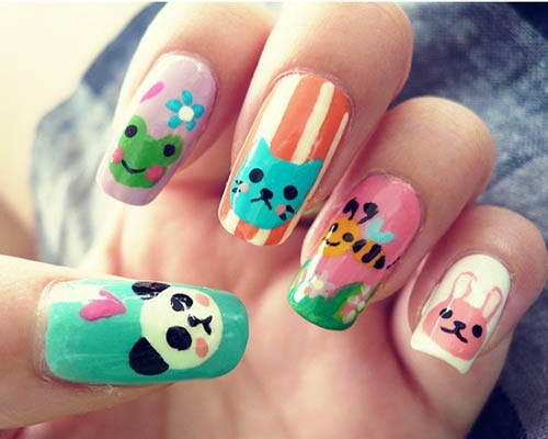 Animal Face Nail art design