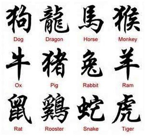 Animal Name Chinese Tattoos