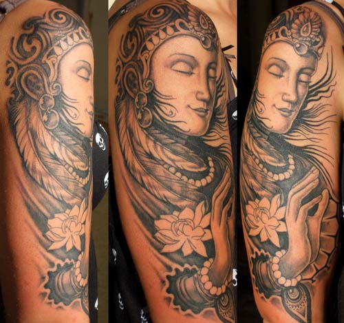 Black and White Buddha Tattoos