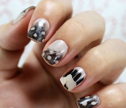 Black and white feather nail art