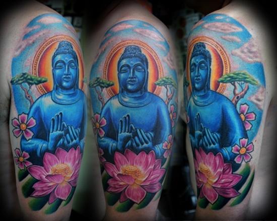 Blue buddhatatto