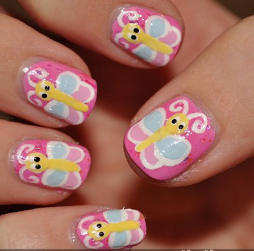 9 simple and easy nail art designs for kids styles at life butterfly free hand nail art prinsesfo Images