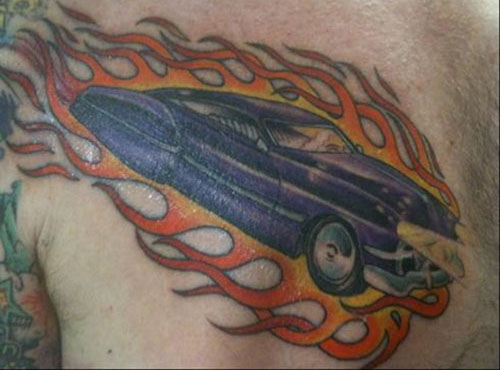 Car on Fire Car Tattoos