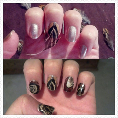 Colour combined feather nail art design