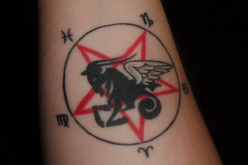 Darkened Capricorn Tattoo Deigns