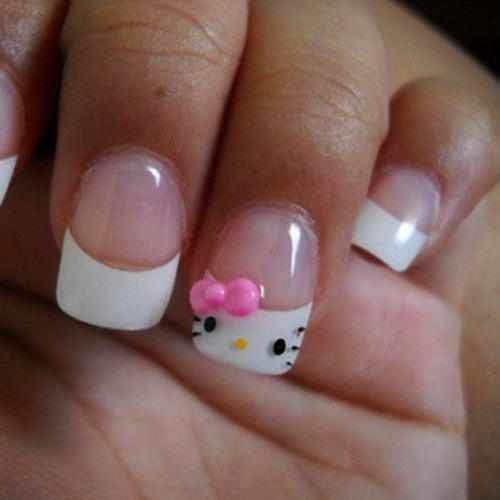 9 simple and easy nail art designs for kids styles at life easy to do hello kitty french tips prinsesfo Images