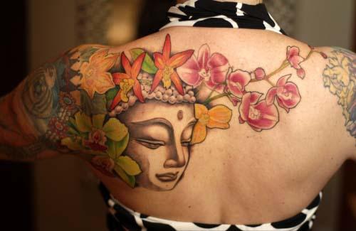 Floral Buddha Tattoo