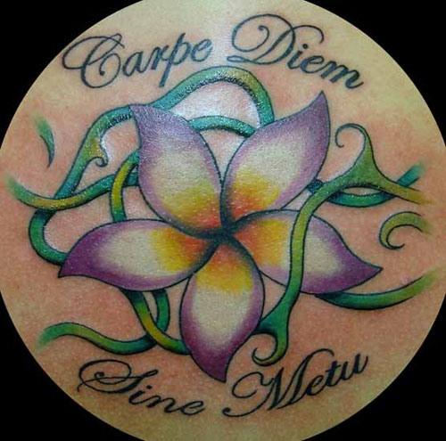 Flower With Carpe Diem Tattoo