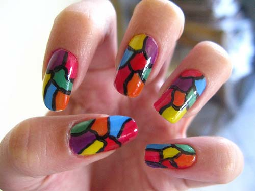 Free hand easy to do stained glass nail art