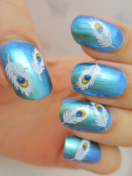 Free hand painted peacock feather nail art