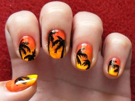 Free Hand Sunset Gradient Nail Design: A ... - 9 Best Palm Tree Nail Art Designs Styles At Life