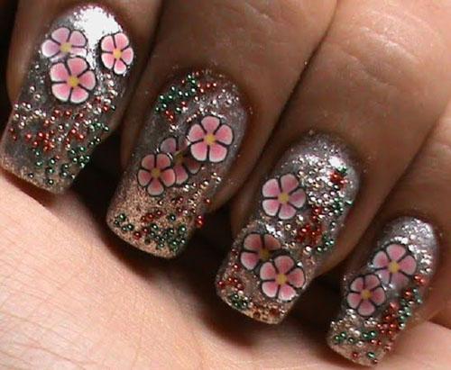 Glittery floral Fimo caviar nails