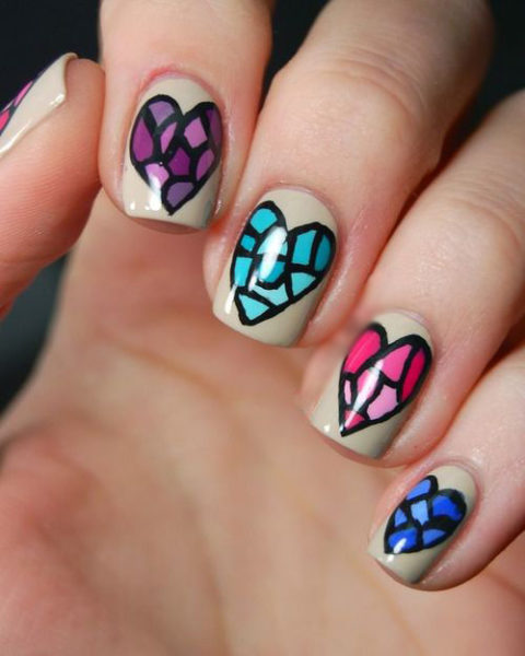 Stained Glass Nail Art: 9 Best Mosaic Nail Art Designs With Pictures