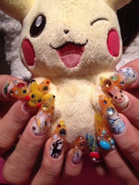 Kawaii Pikachu Nails: