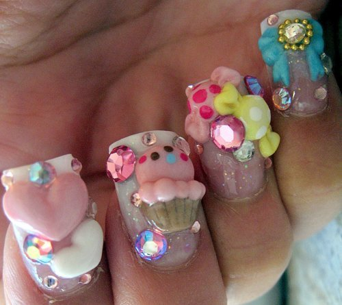 Kawaii deco nails with hearts, ice creams , bows and rhinestones