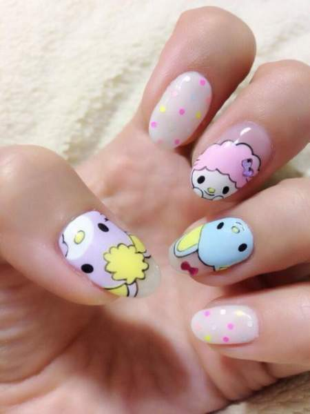 Kawaii free hand nail art