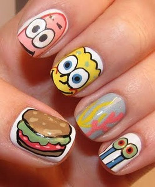Kawaii sponge bob_s square pants nail art