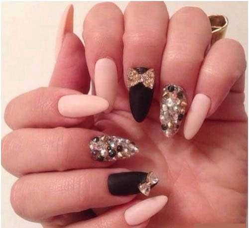 Matte Nail Polish With Rhine Stone Bows And Spikes