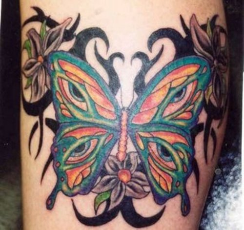 Multi Coloured Butterfly Tattoo