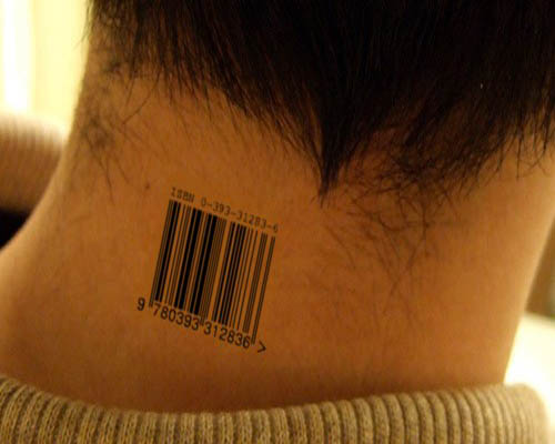Neck Barcode Tattoos