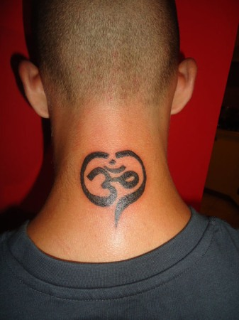 Om Tattoos On Neck