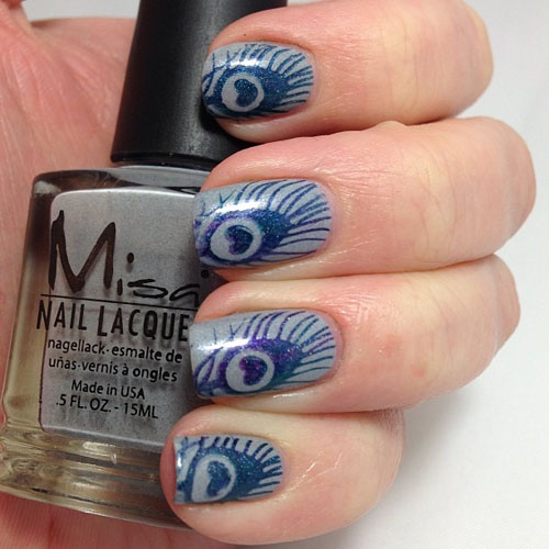 Peacock feather stamping nail art