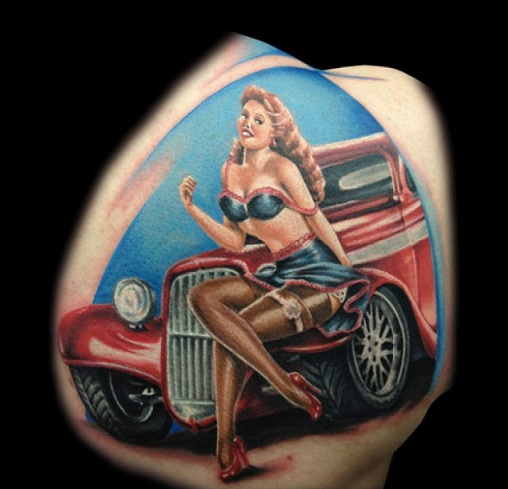 pin-up-girl-on-old-car-tattoo