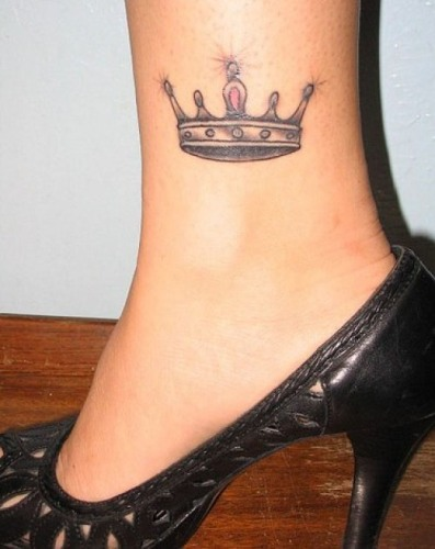 Princess Crown Ankle Tattoo Design