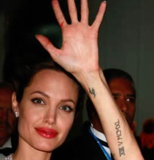 9 new angelina jolie tattoos and meanings styles at life. Black Bedroom Furniture Sets. Home Design Ideas