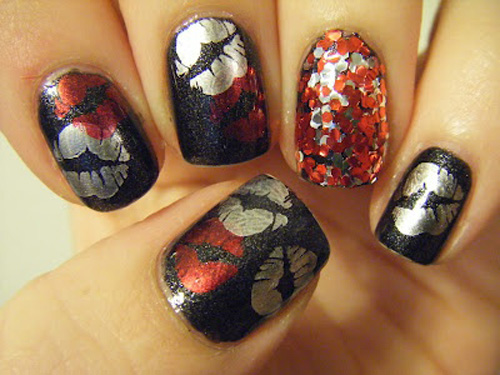 Shimmery kiss nail art tuned with sequins