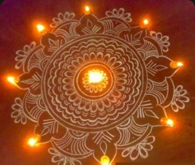 Traditional Diya Rangoli Designs