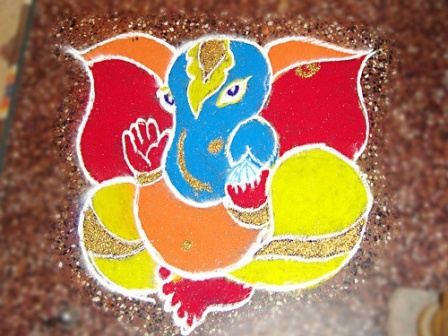Simple Ganapati Rangoli Design