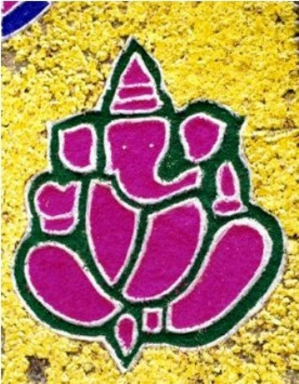 Ganesh Rangoli Design With Flowers