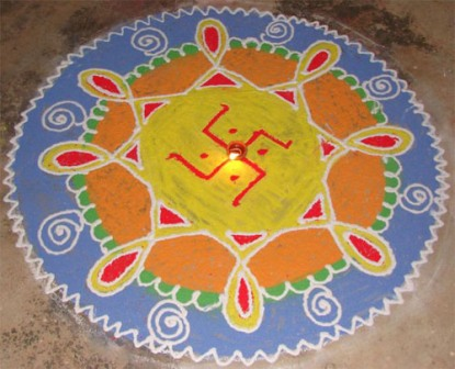 Cute Rangoli With Light Colors