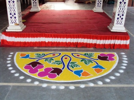 Semi Circle Easy Rangoli Designs