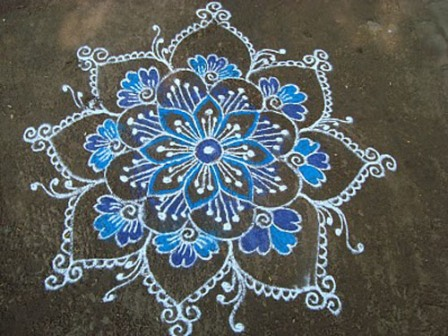 Blue Rangoli Design For Occasion