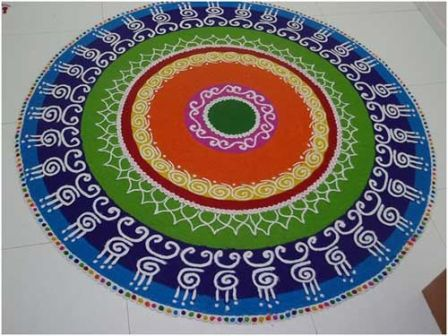 Circle Rangoli Design For Diwali