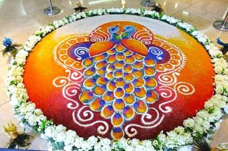 Peacock Rangoli Design For Weddings