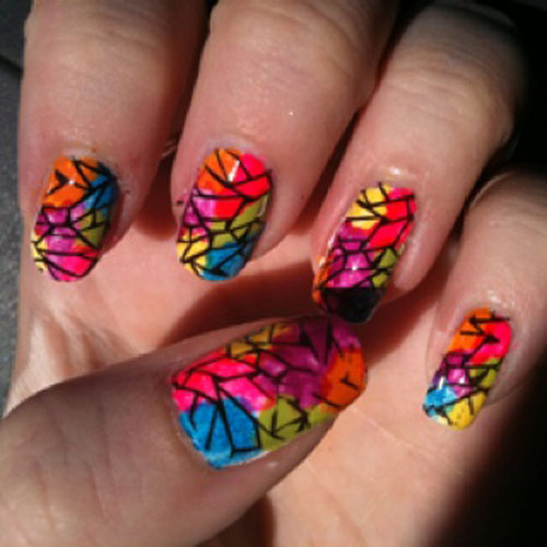 Stamped stained-glass nail art