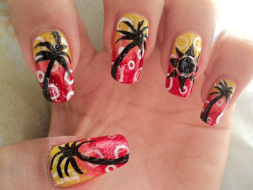 Straw dots and sunset palm tree nail art