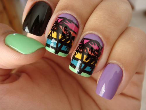 Stripes and Palm tree nail art