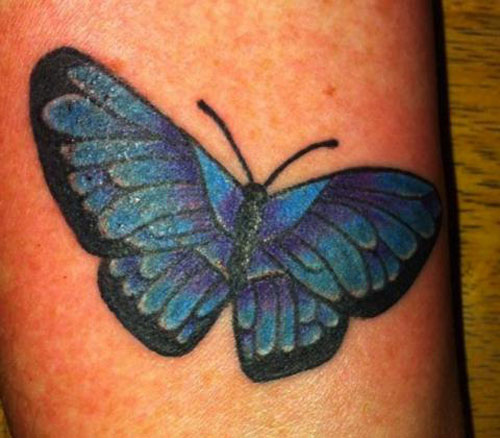 Two Toned Designed Butterfly Tattoos